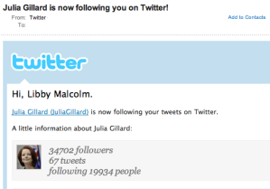Julia Guillard following Libby Malcolm on Twitter