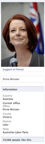 Julia Gillard's Facebook Page