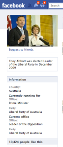 Tony Abbott Facebook Page shows he has 10,424 friends
